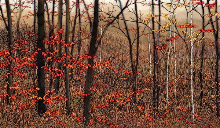 Red Leaves Against Smokey Haze